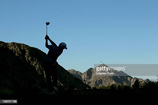 Charles Howell III hits his tee shot on the 16th hole during round four of the Bob Hope Classic at Silver Rock Resort on January 22 2011 in La Quinta...