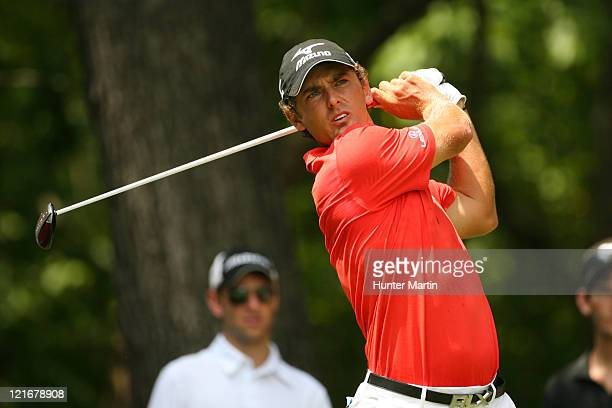 Charles Howell III hits his tee shot on the second hole during the final round of the Wyndham Championship at Sedgefield Country Club on August 21,...