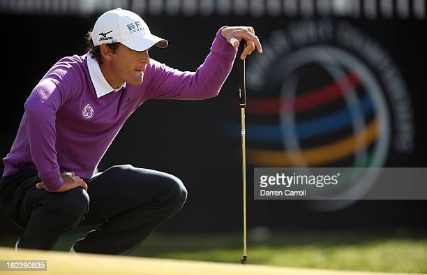 Charles Howell III lines up a putt on the 13th hole during the second round of the World Golf Championships Accenture Match Play at the Golf Club at...