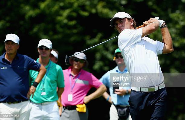 Charles Howell III of the United States hits a tee shot during a practice round prior to the start of the 96th PGA Championship at Valhalla Golf Club...