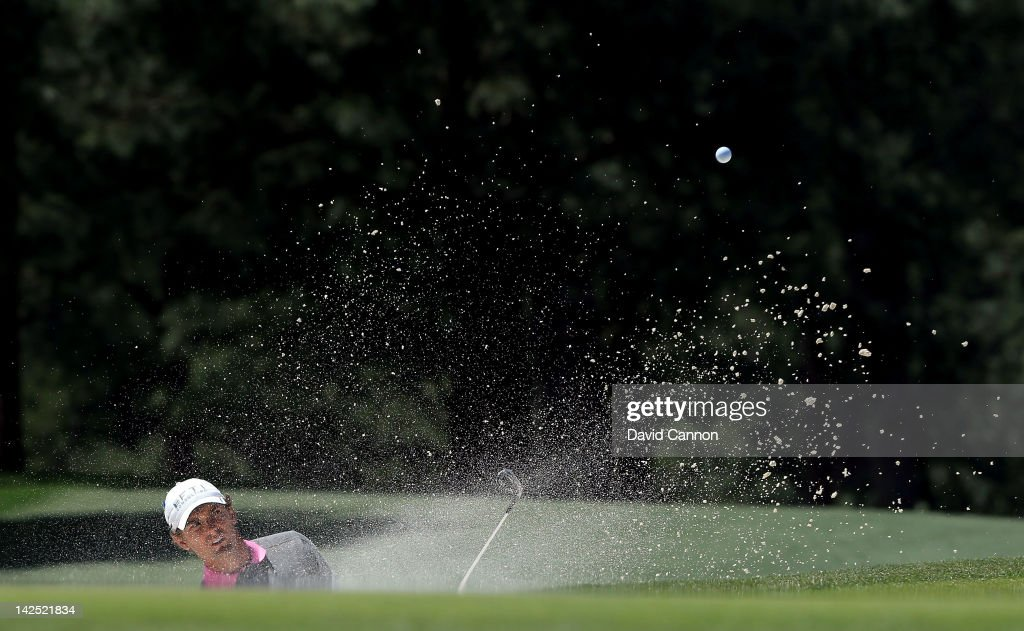 Charles Howell III of the United States hits out of the bunker on the 17th hole during the second round of the 2012 Masters Tournament at Augusta National Golf Club on April 6, 2012 in Augusta, Georgia.