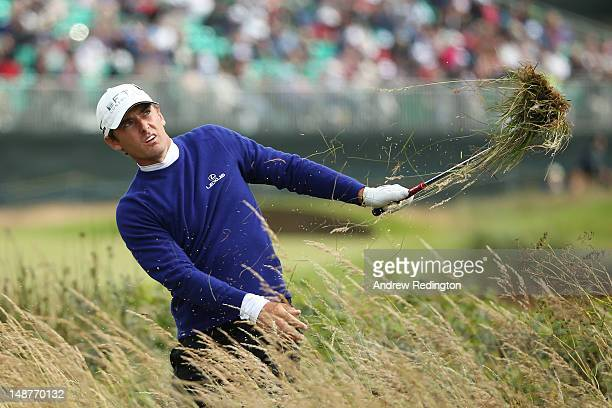 Charles Howell III of the United States plays a shot from the thick rough on the 14th hole during the first round of the 141st Open Championship at...
