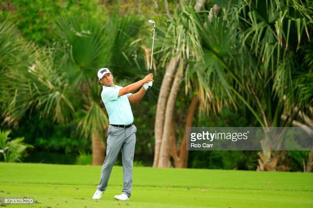 Charles Howell III of the United States plays a shot on the 17th hole during the final round of the OHL Classic at Mayakoba on November 12 2017 in...