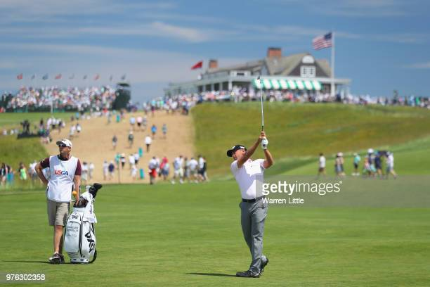 Charles Howell III of the United States plays his second shot on the first hole during the third round of the 2018 US Open at Shinnecock Hills Golf...