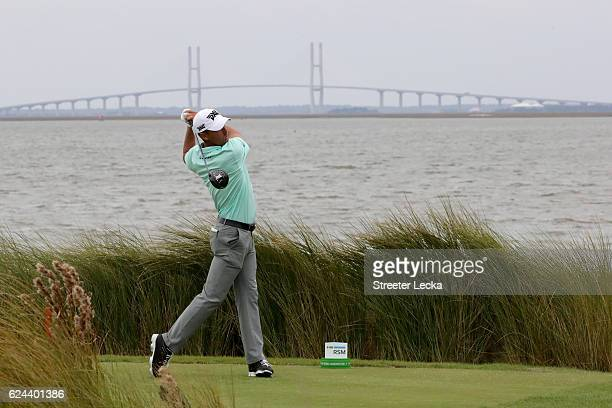 Charles Howell III of the United States plays his tee shot on the 14th hole during the third round of the RSM Classic at Sea Island Resort Seaside...