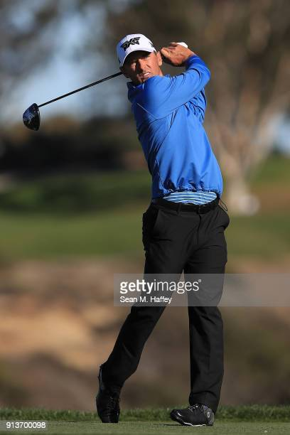Charles Howell III plays his shot from the fifth tee during the final round of the Farmers Insurance Open at Torrey Pines South on January 28 2018 in...