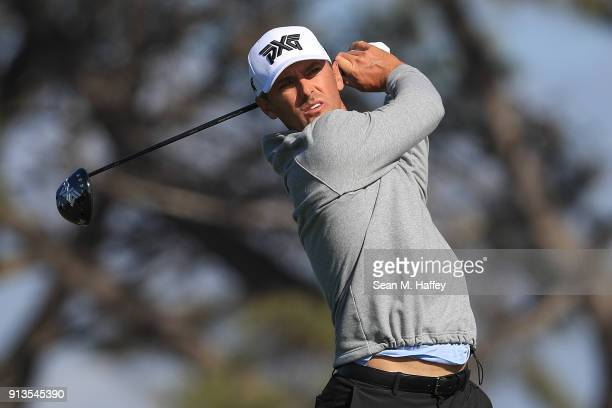 Charles Howell III plays his shot from the fifth tee during the first round of the Farmers Insurance Open at Torrey Pines on January 25 2018 in San...