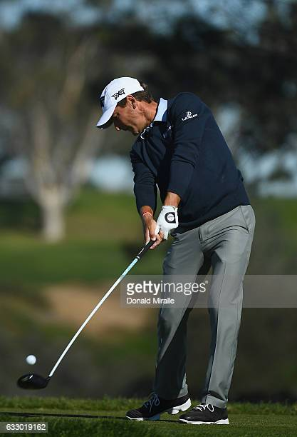 Charles Howell III plays his shot from the fifth teeduring the final round of the Farmers Insurance Open at Torrey Pines South on January 29 2017 in...