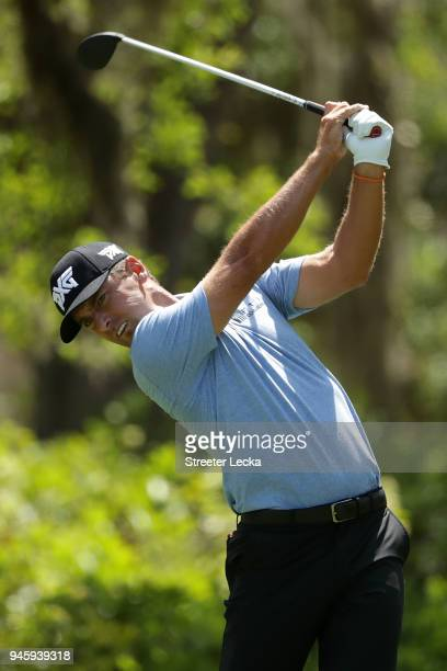 Charles Howell III plays his tee shot on the eighth hole during the second round of the 2018 RBC Heritage at Harbour Town Golf Links on April 13 2018...