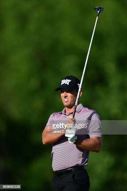 Charles Howell III plays his tee shot on the fourth hole during the first round of the ATT Byron Nelson at Trinity Forest Golf Club on May 17 2018 in...