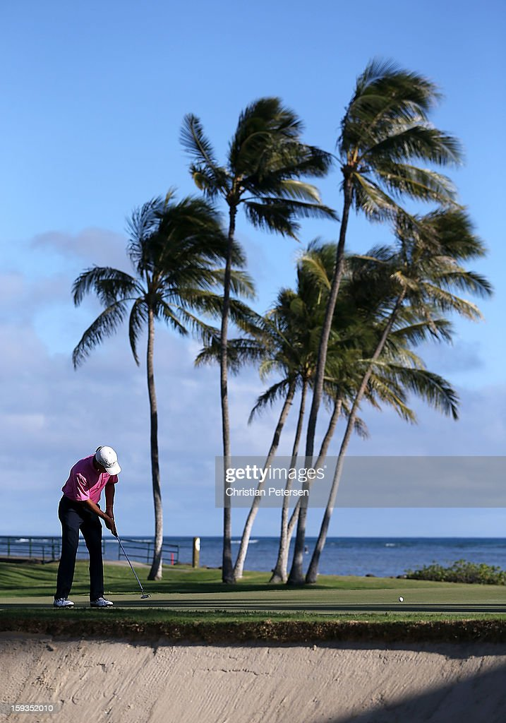 Charles Howell III putts for par on the 17th hole green during the second round of the Sony Open in Hawaii at Waialae Country Club on January 11, 2013 in Honolulu, Hawaii.