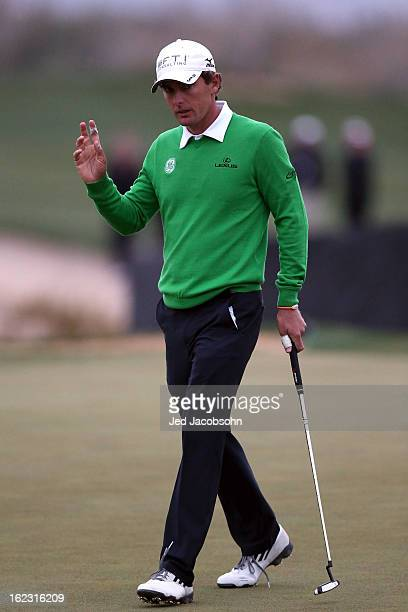 Charles Howell III reacts after he made a putt on the 16th hole green during the first round of the World Golf Championships Accenture Match Play at...