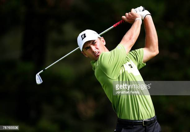Charles Howell III tees off on the 2nd hole during the second round of the Mercedes-Benz Championship at the Plantation Course January 4, 2008 in...