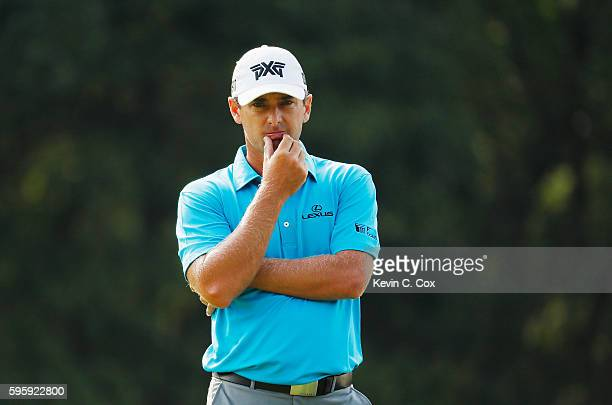 Charles Howell III waits on the fourth green during the second round of The Barclays in the PGA Tour FedExCup PlayOffs on the Black Course at...