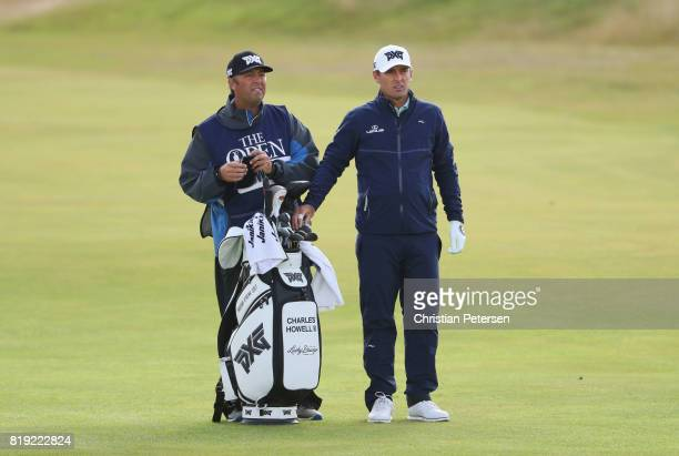 Charles Howell III with his caddie on the 2nd hole during the first round of the 146th Open Championship at Royal Birkdale on July 20 2017 in...