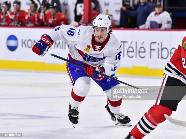 Charles Hudon of the Laval Rocket skates against the Rockford IceHogs during the second period at Place Bell on December 17 2019 in Laval Canada The...