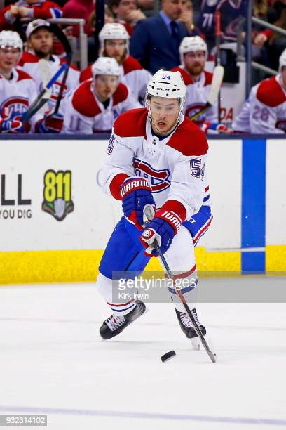 Charles Hudon of the Montreal Canadiens controls the puck during the game against the Columbus Blue Jackets on March 12 2018 at Nationwide Arena in...