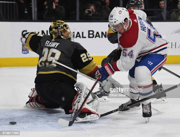 Charles Hudon of the Montreal Canadiens scores a goal against MarcAndre Fleury of the Vegas Golden Knights in the first period of their game at...