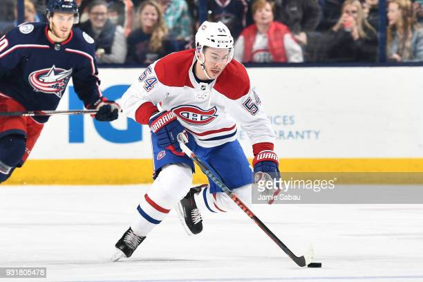 Charles Hudon of the Montreal Canadiens skates against the Columbus Blue Jackets on March 12 2018 at Nationwide Arena in Columbus Ohio