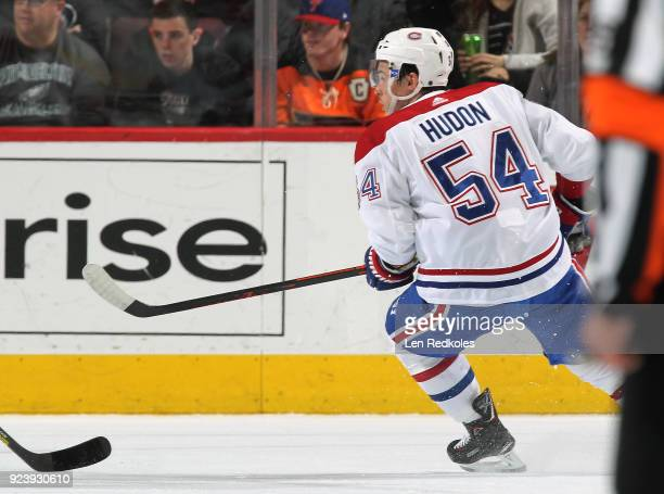 Charles Hudon of the Montreal Canadiens skates against the Philadelphia Flyers on February 20 2018 at the Wells Fargo Center in Philadelphia...