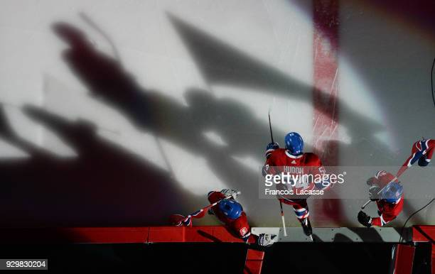 Charles Hudon of the Montreal Canadiens takes to the ice prior the NHL game against the New York Islanders at the Bell Centre on February 28 2018 in...