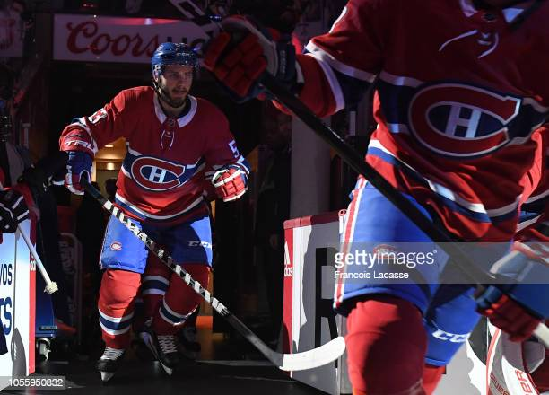 Charles Hudon of the Montreal Canadiens takes to the ice riot the NHL game against the Pittsburgh Penguins in the NHL game at the Bell Centre on...