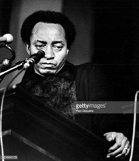 Charles Hurst president of Malcolm X College speaks at a Pantherheld inquest into the death of Fred Hampton Chicago Illinois late 1969 or early 1970