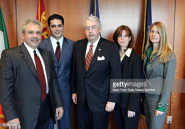 Charles Hynes Brooklyn DA at his offices with team set up to solve Fisher murder case Michael Vecchione Josh Hanshaft Charles Hynes Patricia McNeill...