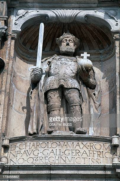 Charles I of Habsburg , statue in the arc of St Mary , Burgos , Castile and Leon, Spain .