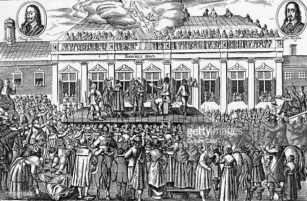 Charles I The execution of the King of England Contemporary engraving With portraits of Charles I and Sir Thomas Fairfax The King was beheaded on a...