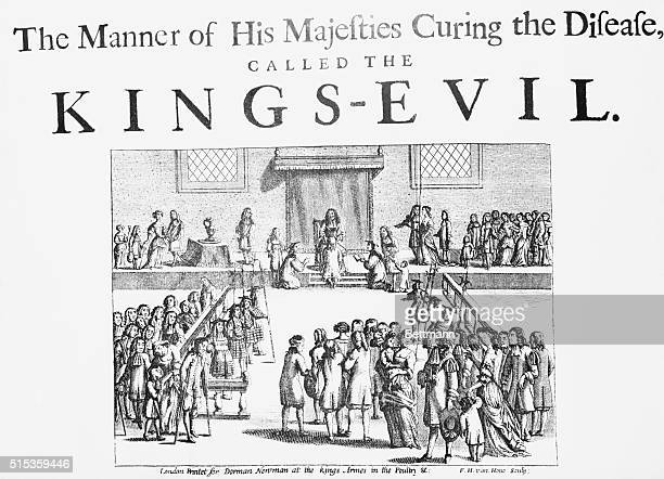 Charles II King of England lays his hands on a subject to cure him of scrofula