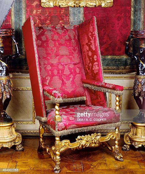 Charles II style carved and gilt wood armchair known as a sleeping chair with adjustable back 1679 United Kingdom 17th century London Victoria And...
