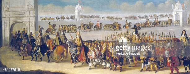 'Charles II's cavalcade through the City of London 22nd April 1661' The king's state entry into the City of London the day before his coronation as...