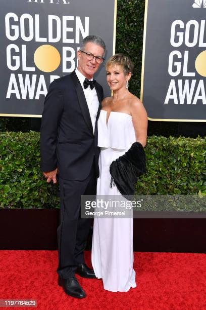 Charles Isaacs and Gabrielle Carteris attend the 77th Annual Golden Globe Awards at The Beverly Hilton Hotel on January 05, 2020 in Beverly Hills,...