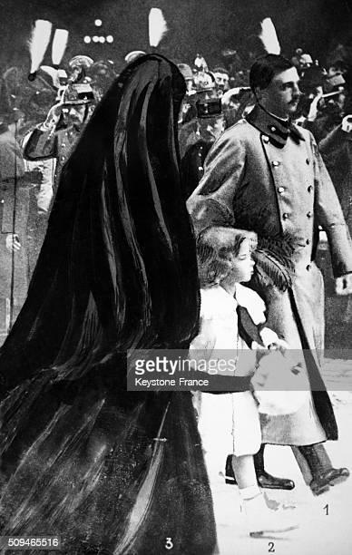 Charles IV and Empress Zita with Otto von Habsburg during the funeral of Franz Joseph I on November 30, 1916 in Vienna, Austria.