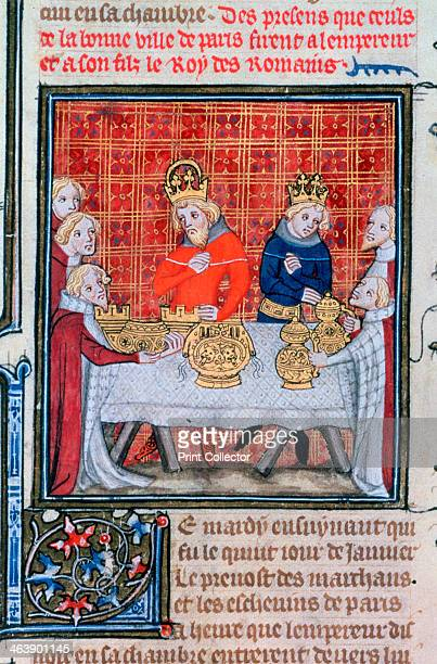 Charles IV receiving presents The people of Paris present gifts to the Holy Roman Emperor and his son the future Wenceslas IV Illustration from the...