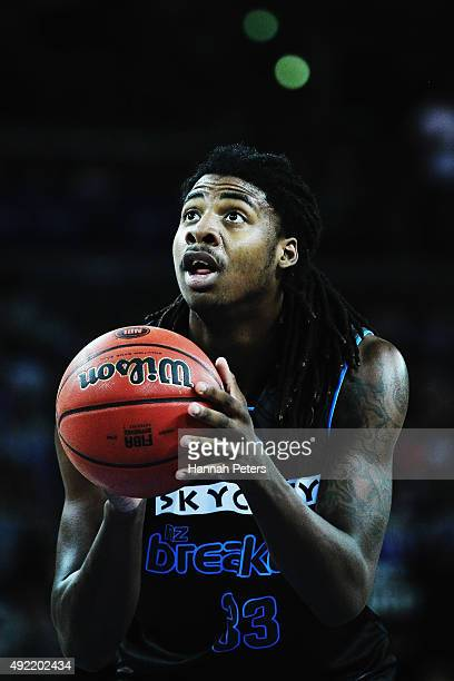 Charles Jackson of the Breakers shoots during the round one NBL match between the New Zealand Breakers and the Townsville Crocodiles at Vector Arena...