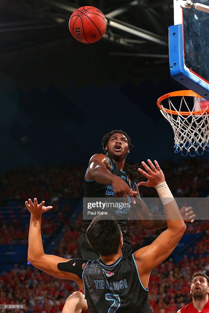 Charles Jackson of the Breakers taps the ball clear while rebounding during game one of the NBL Grand FInal series between the Perth Wildcats and the New Zealand Breakers at Perth Arena on March 2, 2016 in Perth, Australia.