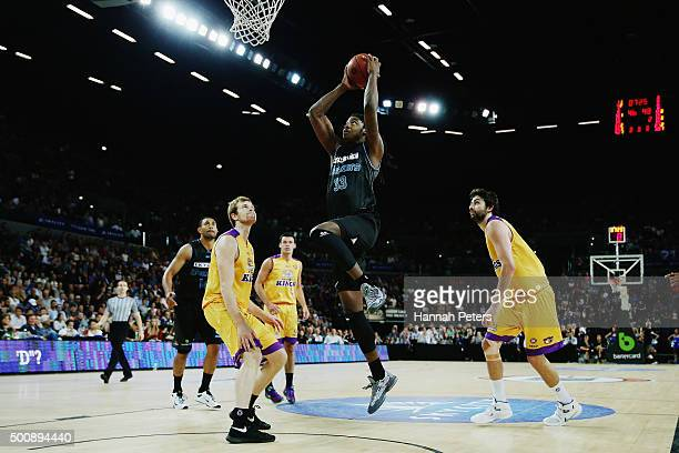 Charles Jackson of the Breakersn lays the ball up during the round 10 NBL match between the New Zealand Breakers and the Sydney Kings at Vector Arena...