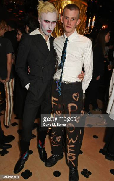 Charles Jeffrey and Jack Appleyard attend the Another Man Spring/Summer Issue launch dinner in association with Kronaby at Park Chinois on March 21...
