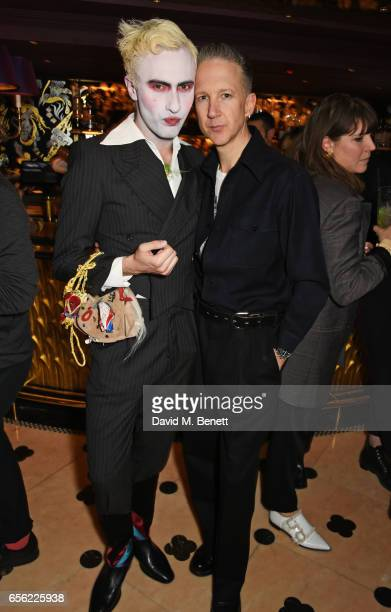 Charles Jeffrey and Jefferson Hack attend the Another Man Spring/Summer Issue launch dinner in association with Kronaby at Park Chinois on March 21...
