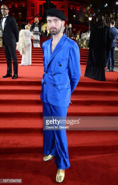 Charles Jeffrey arrives at The Fashion Awards 2018 in partnership with Swarovski at the Royal Albert Hall on December 10 2018 in London England