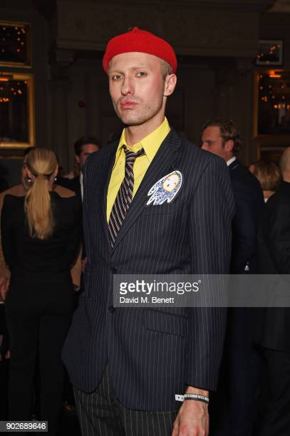 Charles Jeffrey attends the GQ London Fashion Week Men's 2018 closing dinner hosted by Dylan Jones and Rita Ora at Berners Tavern on January 8 2018...