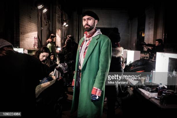 Charles Jeffrey backstage ahead of the Charles Jeffrey Loverboy show during London Fashion Week Men's January 2019 at the Wapping Hydraulic Power...