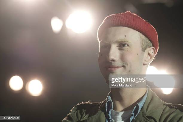 Charles Jeffrey backstage at the Charles Jeffrey LOVERBOY show during London Fashion Week Men's January 2018 at Old Selfridges Hotel on January 7...