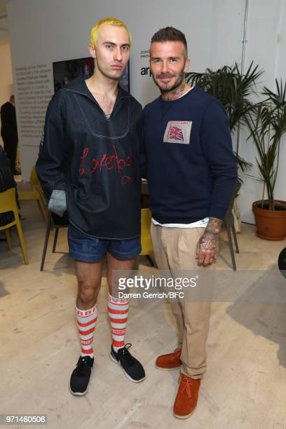 Charles Jeffrey Loverboy and David Beckham attend the NEWGEN LFWM June 2018 Breakfast during London Fashion Week Men's June 2018 at the BFC Designer...