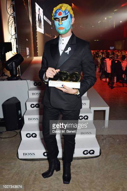 Charles Jeffrey winner of the Breakthrough Designer Of The Year award attends the GQ Men of the Year Awards 2018 in association with HUGO BOSS at...