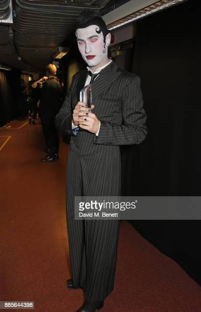 Charles Jeffrey winner of the British Emerging Talent award for Charles Jeffrey LOVERBOY poses backstage at The Fashion Awards 2017 in partnership...