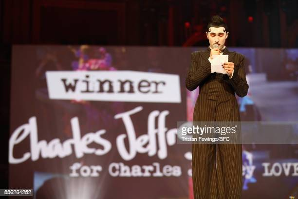 Charles Jeffrey winner of the British Emerging Talent Menswear award on stage during The Fashion Awards 2017 in partnership with Swarovski at Royal...