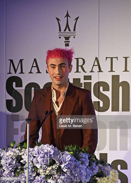 Charles Jeffrey winner of the Young Designer of the Year award speaks at the Scottish Fashion Awards in association with Maserati at Rosewood Hotel...